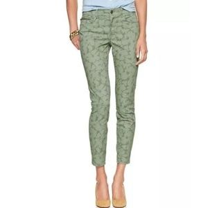 Gap Green Floral Legging Jeans Zip Ankle